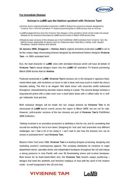 LaMB to sport Vivienne Tam designs media release 1/3